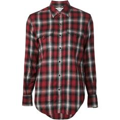 Saint Laurent Flannel Western Shirt (1 180 AUD) ❤ liked on Polyvore featuring tops, shirts, flannels, long sleeves, all tops, kirna zabete, long sleeve shirts, long sleeve button down shirts, red long sleeve shirt and red button up shirt