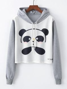 To find out about the Panda Print Drawstring Detail Sweatshirt at SHEIN, part of our latest Sweatshirts ready to shop online today! Hoodie Sweatshirts, Printed Sweatshirts, Jugend Mode Outfits, Tokyo Street Fashion, Girls Blouse, Kawaii Clothes, Teen Fashion Outfits, Grunge Outfits, Dress Fashion