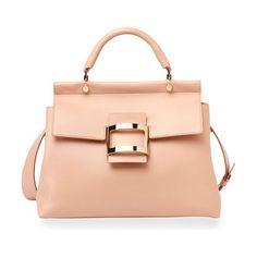"""Viv Cabas Medium Top-Handle Satchel Bag by Roger Vivier. Roger Vivier smooth leather satchel bag. Golden hardware. Rolled top handle, 4"""" drop. Removable, adjustable shoulder ..."""