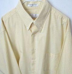 Men's long sleeve Geoffrey Beene Shirt Size XL Yellow with White Checks #GeoffreyBeene #ButtonFront