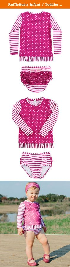 97e1dbd2a9ef6 RuffleButts Infant / Toddler Girls Berry Striped Polka LS Rash Guard Bikini  - Purple - 12