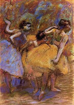 Edgar Degas (French, 1834-1917) – Dancers, c.1900 (Pastel and charcoal on tracing paper; mounted on wove paper mounted on board. Memorial Art Gallery of the University of Rochester) - - This pastel was produced late in the artist's life when his eyesight had begun to fail. It is possible that his diminished vision resulted in the heavy contours that surround the dancers and give only the barest suggestion of their facial features. Rather than attempting great detail, he concentrated on…