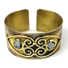 Bracelets 98480: Handmade Scrolling Hearts And Gray Crystal Brass Cuff BUY IT NOW ONLY: $42.99