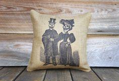 Skeleton Couple Pillow Cover, Halloween Decoration, Burlap Throw Pillow, Decorative Pillow, Fall, Skull, Rustic, Farmhouse 16x16. $38.00, via Etsy.