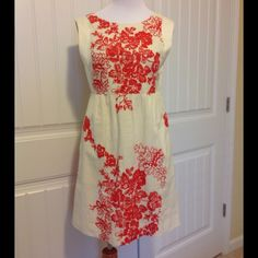 """J. Crew dress with floral embroidery Beautiful off white sleeveless dress. Zippered back and two side seam pockets.Floral embroidery front and back. Size 4 . 34"""" top to bottom J. Crew Dresses"""