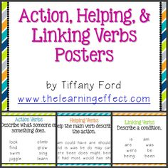 The Learning Effect: My Year So Far. Back to School Night & Some Freebies Linking Verbs Worksheet, Verb Worksheets, Printable Worksheets, Teaching Verbs, Teaching English Grammar, Have Fun Teaching, Teaching Reading, Learning, Verb Examples