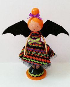 Batgirl Halloween Miniature Wooden Clothespin Doll SugarlandDollHouse
