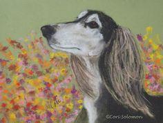 The Flower Child Saluki Art By Cori Solomon -- Art Helping Animals