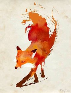 The fox is my spirit animal, so I want a tattoo of this on my side only blue.