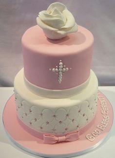 first communion cakes for girls - Yahoo Image Search Results Christening Cake Girls, Baby Girl Baptism, Girl Baptism Cakes, Simple Baptism Cake, Girl Christening Decorations, Baptism Party, Comunion Cakes, Religious Cakes, Confirmation Cakes