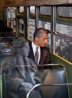 Images of Barack Obama and Rosa Parks, riding a bus during the civil rights marches. Black History Facts, Black History Month, Art History, Ancient History, Michelle Obama, Rosa Parks, We Are The World, In This World, Divas