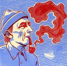 'Life as a fish' portrait of Jacques Cousteau by Darrel Perkins via Linocutboy