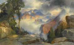 THOMAS MORAN #Clouds In The #Canyon Oil on Canvas 12.25″ x 19.375″ #art