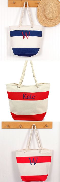 Bridesmaid Gift Ideas : Red and white striped nautically inspired tote bag with rope handles. Ideally sized for a bridal beach weekend trip or even an afternoon boat ride. Man Child, Striped Canvas, Nautical Wedding, Beach Girls, Red And White Stripes, Monogram Letters, Gift Bags, Bridesmaid Gifts, Tote Bag