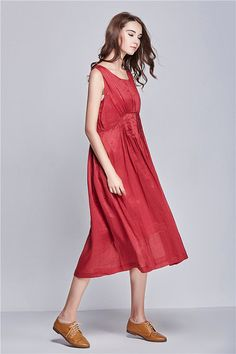 Cocktail Wedding Sundress in Red / Long Linen Dress in Red / Maxi Bridesmaid Dress, Loose Kaftan, XL,XXL, Plus size A8007