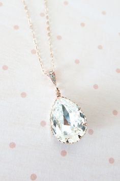 Rose Gold FILLED necklace, Swarovski Crystal Teardrop Necklace - pink rose gold weddings brides bridesmaid bridal shower gifts, crystal necklace, www.colormemissy.com