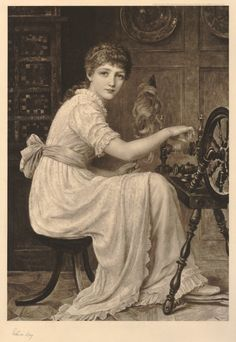 The Spinster (also known as A Simple Maiden). A young woman (in a textured gown) sitting to right at a spinning wheel in a room, hunched forward and looking to front over her right shoulder, an inlaid cabinet behind at left.  1890 Photogravure.  Print based on painting by Edwin Longsden Long.