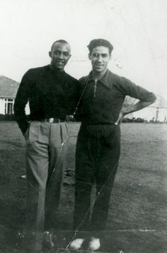 Jesse Owens posed with Gregory Lambrakis, Berlin, 1936 [http://kb.osu.edu/dspace/handle/1811/53262]. Lambrakis was a champion athlete throughout his life. He held the Greek record for long jump for twenty-three years (1936–1959) [http://en.wikipedia.org/wiki/Grigoris_Lambrakis].