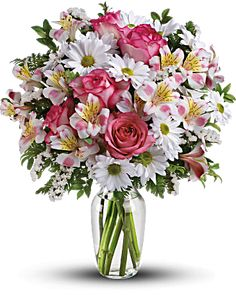 """This charming bouquet is called """"What a Treat"""" because that's what it is. A sparkling clear glass vase overflowing with pink roses, pink alstroemeria, white mums and white statice - what could be """"treatier?"""" Treat someone specia Vase Arrangements, Beautiful Flower Arrangements, Beautiful Flowers, Home Flowers, Fresh Flowers, Spring Flowers, Send Flowers, Flowers Garden, Flower Delivery"""