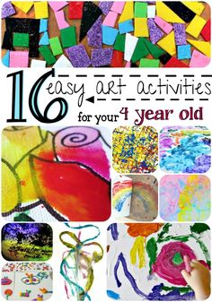 Your child will love these 16 easy art activities for your 4 year old! These fun, colorful ideas will make for an afternoon of creative fun! easy art 16 Easy Art Activities For Your 4 Year Old 4 Year Old Activities, Craft Activities For Kids, Crafts To Do, Crafts For Kids, Arts And Crafts, Cool Art Projects, Projects For Kids, Simple Art, Easy Art