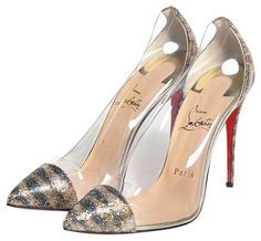 Christian Louboutin Debout Pointed Toe Glitter Silver, Clear, Gold Pumps