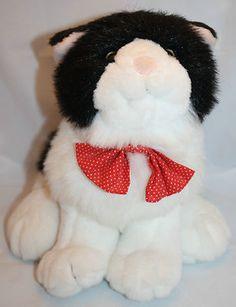 "Commonwealth Plush Cat Black Red White Polka Dot Bow Tie 10"" Stuffed Animal Toy"
