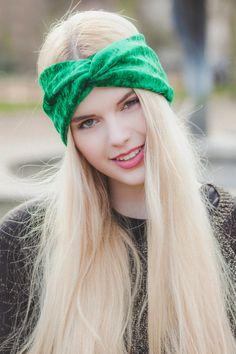 Velvet Turban Headband, Stretchy Fabric Turban Head Wrap in Emerald Green, Crushed Velvet Turband Headband on Etsy, £7.00
