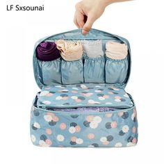 Lingerie Bra Cloth art Pouch Suitcase Case Price: $ 9.95 & FREE Shipping #bra #lingerie #modeling #girl #style #curves #hot #body #portrait #models #fit Buy Lingerie, Lingerie Models, Underwear Organization, Womens Luggage, Wash Bags, Travel Accessories, Bag Storage, Blue Flowers, Cosmetic Bag