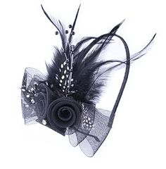 Anita Womens fascinators Bow feather Beaded headbandBlack * Want additional info? Click on the image.