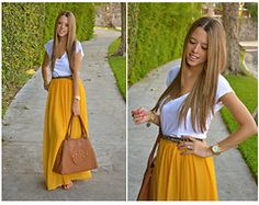 cute idea for wearing a maxi skirt- might just have to buy the yellow one i've been wanting for months now!