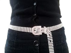 5 Row Rhinestone Belt Made by #Red Hat Ladies Boutique Color #Clear. 5 Row Rhinestone Belt. Approx. 39'' from end to end,. 3/4'' wide, 5 adjustable holes. Plated in Sterling Silver. Intended for ages 15 and up