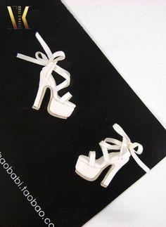 SK08 White Ribbon High Heels Shoes for Fashion Royalty, DG, Momoko, Barbie #SKCouture