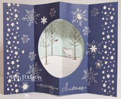 Sarah's 3D card: White Christmas, Endless Wishes, All is Calm dsp, Frosted Sequins, & more. All supplies from Stampin' Up!