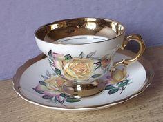 Antique Yellow Rose tea cup and saucer Rosina tea by ShoponSherman