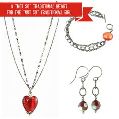"""a """"Not So"""" traditional Heart for the """"Not So"""" traditional girl at http://southpawonline.com/products/poppy-red-venetian-heart-black-sterling-silver-chain"""