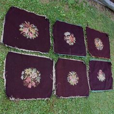 SOLD....6 Antique Needlepoint Chair Seat Covers, Upholstery