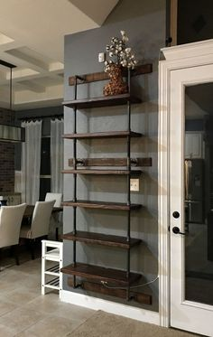 36 Super easy how to make DIY industrial pipe shelves Living Room Design Industrial Pipe Shelves, Industrial Interior Design, Industrial House, Rustic Industrial, Plumbing Pipe Shelves, Pipe Shelving, Industrial Lamps, Industrial Bedroom, Rustic Living Room Furniture