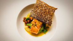 Salmon with Peas, Almonds and Saffron
