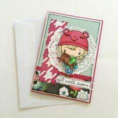 Get Well Soon Card - Teddy bear - Get better, Feel better, Sickness Card