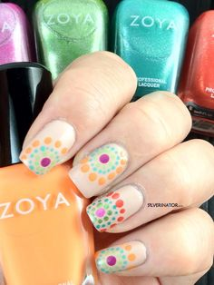 "Zoya ""dotticure"" featuring Zoya Nail Polish in Rory, Meg, Zuza, Myrta, Shay, Reagan, Tracie, Wednesday and Arizona"