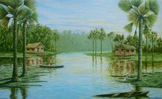 Dia no igarapé (2008), acrílico sobre tela de Jeriel.Dimensões: 72 x 120cm. Coleção Particular - AP.