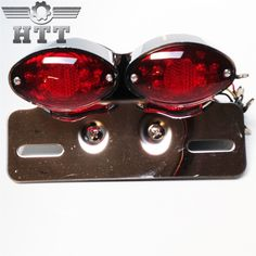 Aftermarket free shipping motorcycle parts Universal Cat Eye Custom Motorcycle Tail Brake License Plate light CHROME + RED #Affiliate
