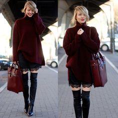 Zara Sweater, Zara Overknees | Damn, I don't do turtlenecks generally, but that sweater looks soo cozy... Love the deep burgundy red too.