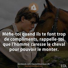 Méfie-toi quand ils te font trop de compliments, rappelle-toi que l'homme caresse le cheval pour pouvoir le monter. Words Quotes, Me Quotes, Funny Quotes, Quotes Francais, Positive And Negative, Learn French, Haha Funny, Proverbs, Slogan