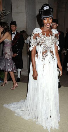 Naomi Campbell in an Alexander McQueen couture gown.