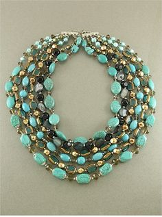 CHUNKY LONG MULTI  LAYERED NATURAL GEM STONE GLASS BEAD TURQUOISE NECKLACE SET