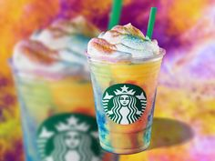 """The colourful drink is advertised as a """"burst of orange combined with creamy vanilla whipped cream,"""" topped with rainbow sprinkles. Rainbow Drinks, Colorful Drinks, Rainbow Sprinkles, Starbucks Whipped Cream, Vanilla Whipped Cream, Starbucks Rewards, Espresso Drinks, Frappuccino, Great Coffee"""