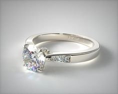 Might be too thin in width for my chubbier finger =) White Gold Petite Diamond Accent Engagement Ring Round Solitaire Engagement Ring, Engagement Rings Cushion, Yellow Engagement Rings, Engagement Ring Styles, Designer Engagement Rings, Vintage Engagement Rings, Halo Engagement, Ruby Rose, Blue Nile