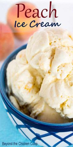 Peach Ice Cream Old Fashioned Peach Ice Cream is a delicious slow churned ice cream made with fresh peaches. This delicious frozen treat is perfect for hot summer days or whenever you want a delicious dessert.Old Fashioned Peach Ice Cream is a delicious Ice Cream Desserts, Köstliche Desserts, Delicious Desserts, Frozen Desserts, Frozen Treats, Frozen Yogurt Recipes, Ice Cream Treats, Peach Ice Cream Recipe, Ice Cream Recipes