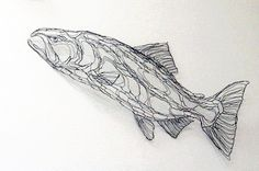 King Salmon 4ft Wire Sculpture 2D Wall Art by Elizabeth Berrien (chinook, coho…